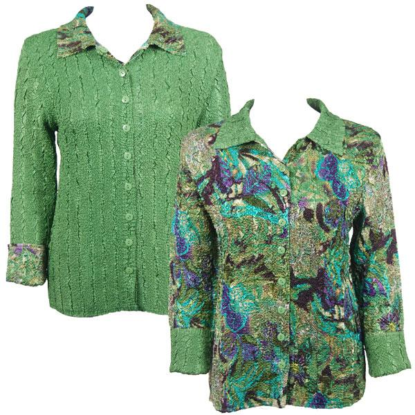 Wholesale Magic Crush - Reversible Jackets Butterfly Floral Green-Purple reverses to Solid Green -      S-M