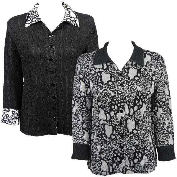 Wholesale Magic Crush - Reversible Jackets Abstract Print Black-White reverses to Solid Black -    L-XL