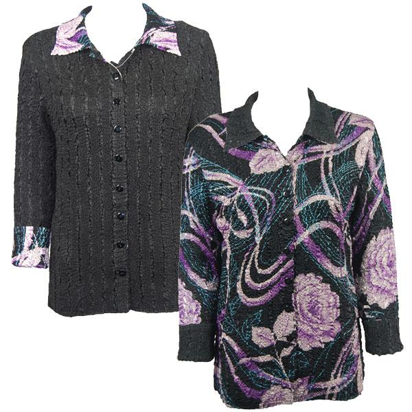 Wholesale Magic Crush - Reversible Jackets Abstract Floral Purple-Rose reverses to Solid Black #A05 - S-M