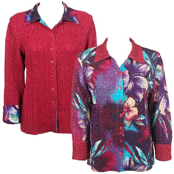 Wholesale Magic Crush - Reversible Jackets Red-Blue Flower reverses to Solid Crimson -      S-M