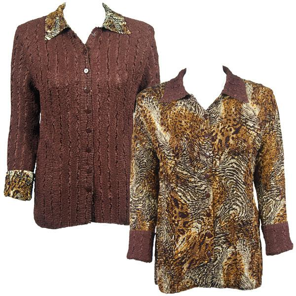 Wholesale Magic Crush - Reversible Jackets Swirl Leopard reverses to Solid Brown - L-XL