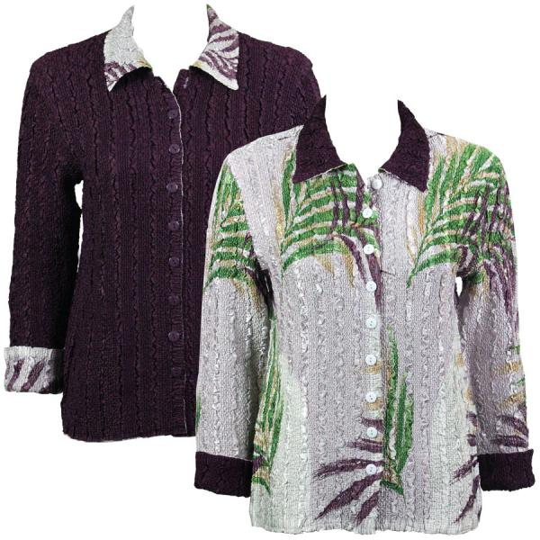 Wholesale Magic Crush - Reversible Jackets Palm Leaf Green-Purple reverses to Solid Plum - S-M