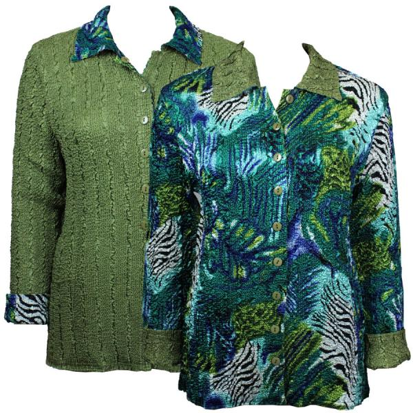 Wholesale Magic Crush - Reversible Jackets Abstract Zebra Blue-Green reverses to Solid Olive - 1X-2X