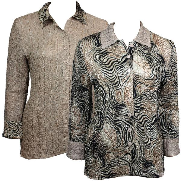 Wholesale Magic Crush - Reversible Jackets Swirl Animal reverses to Solid Tan #9120 - S-M