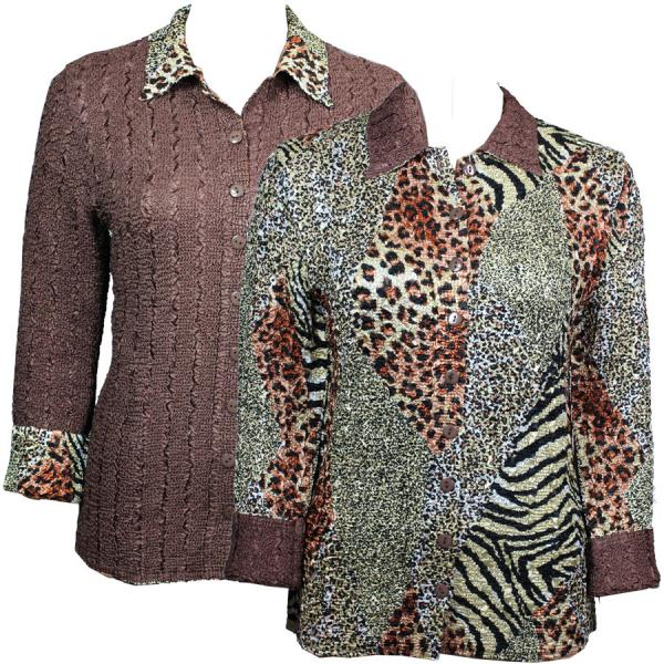 Wholesale Magic Crush - Reversible Jackets Patchwork Animal reverses to Solid Brown - S-M