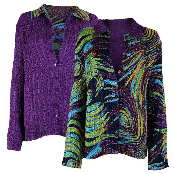Wholesale Magic Crush - Reversible Jackets Psychedelic Swirl reverses to Solid Purple - L-XL