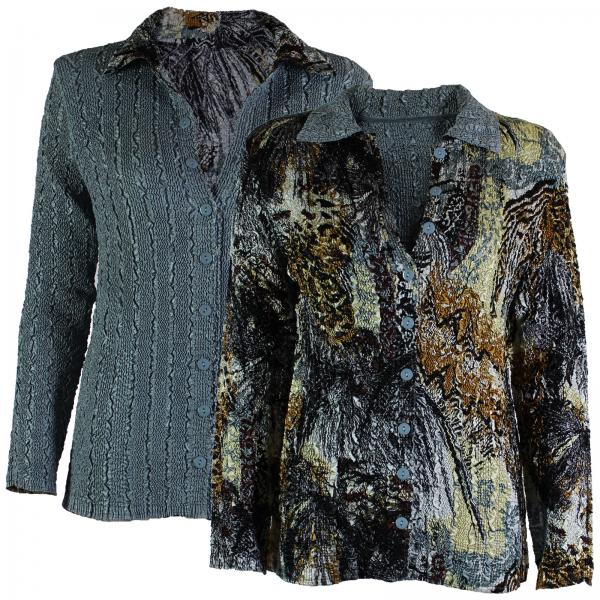 Wholesale Magic Crush - Reversible Jackets Abstract Black-Gold reverses to Solid Silver #1032 -      S-M