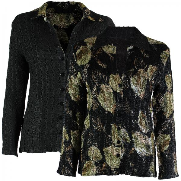 Wholesale Magic Crush - Reversible Jackets Black with Gold Leaves reverses to Solid Black #1048 -      S-M
