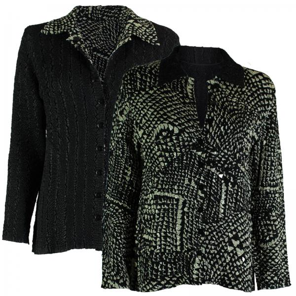 Wholesale Magic Crush - Reversible Jackets #14008 Black and Ivory Print - 1X-2X