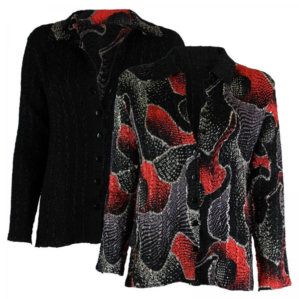 Wholesale Magic Crush - Reversible Jackets #14009 Black, Red and Grey Print - 1X-2X