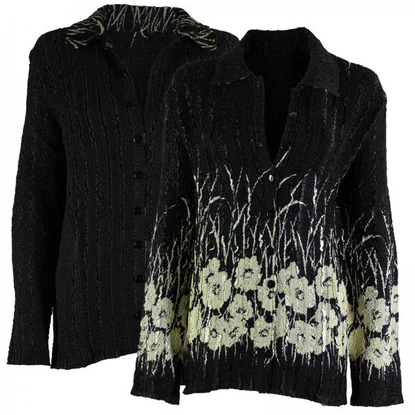 Wholesale Magic Crush - Reversible Jackets Ivory Poppies on Black reverses to Solid Black - 1X-2X