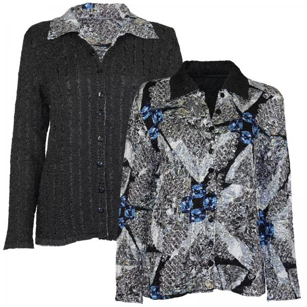Wholesale Magic Crush - Reversible Jackets #14012 Black, Grey and Blue Print - S-M