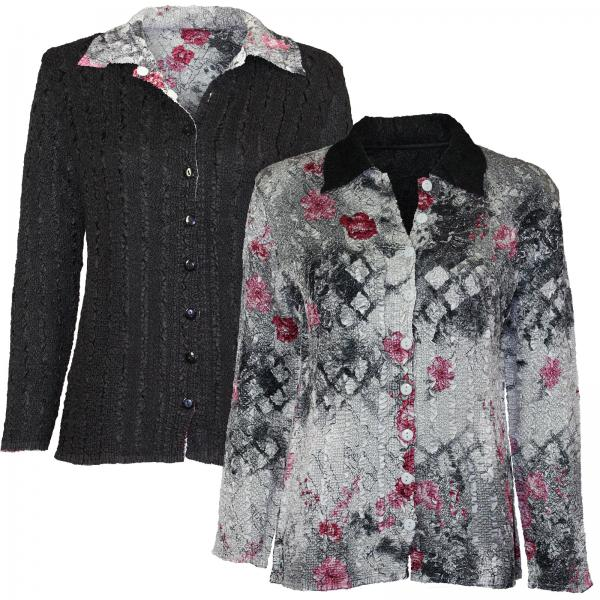 Wholesale Magic Crush - Reversible Jackets White-Black-Pink Floral reverses to Solid Black - 1X-2X