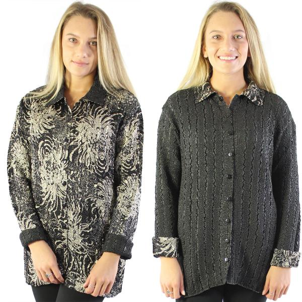 Wholesale Magic Crush - Reversible Jackets Abstract Flowers Black-Tan reverses to Solid Black - 1X-2X