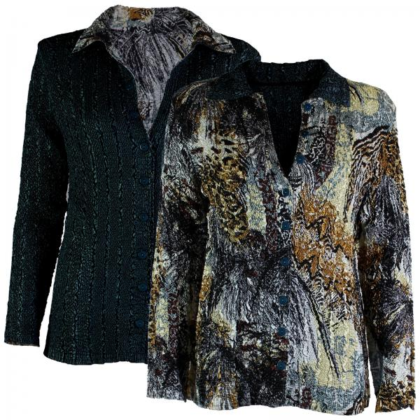Wholesale Magic Crush - Reversible Jackets Abstract Black-Gold reverses to Solid Black - 1X-2X