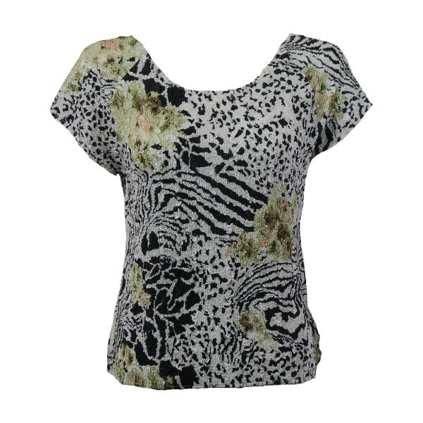 wholesale Ultra Light Crush Silky Touch - Cap Sleeve* Reptile Floral - Green - Plus Size Fits (XL-2X)