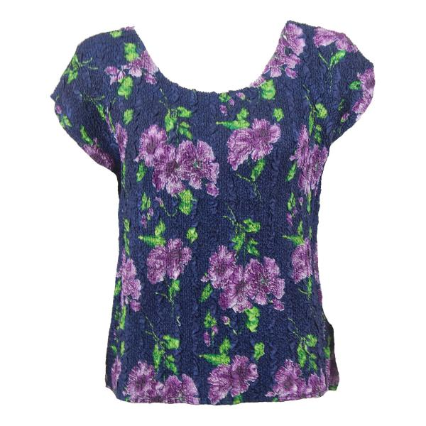wholesale Ultra Light Crush Silky Touch - Cap Sleeve* Navy with Purple Flowers - One Size Fits (S-L)