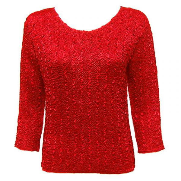 wholesale Ultra Light Crush Silky Touch - 3/4 Sleeve* Solid Red - Woman Size Fits (M-1X)