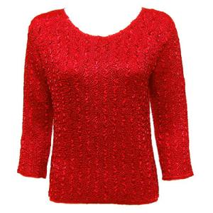 wholesale Ultra Light Crush Silky Touch - 3/4 Sleeve* Solid Red - One Size (S-L)