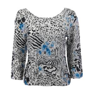 wholesale Ultra Light Crush Silky Touch - 3/4 Sleeve* Reptile Floral - Blue - Plus Size Fits (XL-2X)