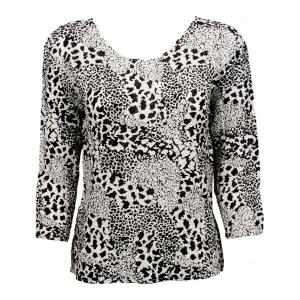 wholesale Ultra Light Crush Silky Touch - 3/4 Sleeve* Reptile Black-White - Plus Size Fits (XL-2X)