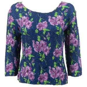wholesale Ultra Light Crush Silky Touch - 3/4 Sleeve* Navy with Purple Flowers - One Size (S-L)