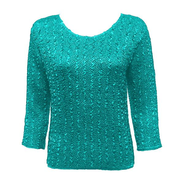 wholesale Ultra Light Crush Silky Touch - 3/4 Sleeve* Solid Bright Teal - One Size (S-L)
