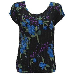 Magic Crush Georgette - Cap Sleeve* Black-Blue Floral - One Size (S-L)