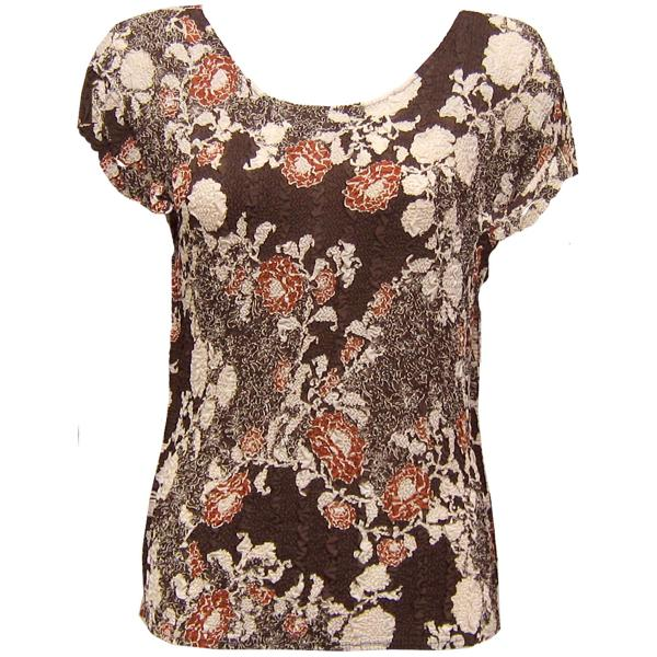 Wholesale Magic Crush Georgette - Cap Sleeve* Chocolate-Ivory Floral - One Size  Fits (S-M)