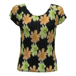 Magic Crush Georgette - Cap Sleeve* Hibiscus Peach-Green - One Size (S-L)