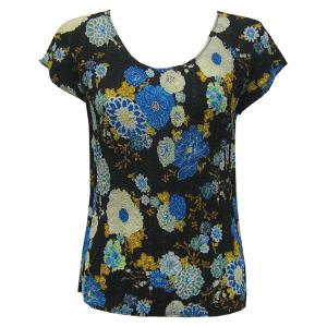 Magic Crush Georgette - Cap Sleeve* Mums Blue-Black - One Size (S-L)