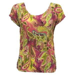 Magic Crush Georgette - Cap Sleeve* Pink-Lime Paisley - One Size (S-L)