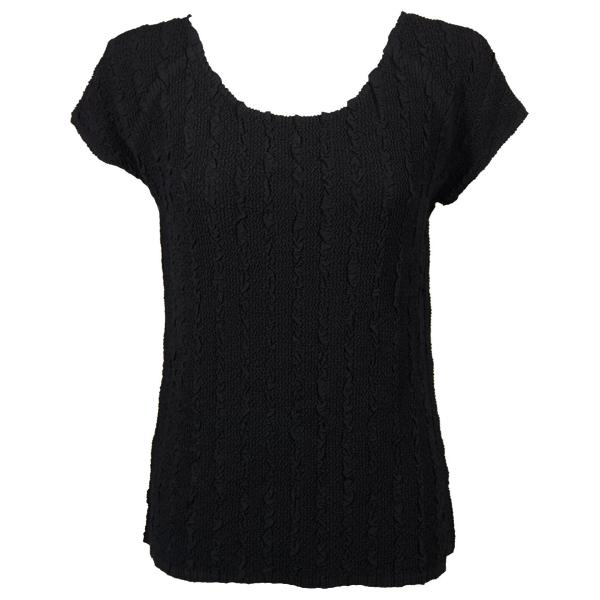 Magic Crush Georgette - Cap Sleeve* Solid Black  - One Size (S-L)