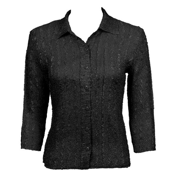 Wholesale Ultra Light Crush Silky Touch - Blouse* Solid Black - One Size Fits (S-L)