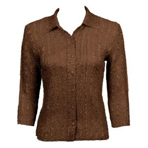 Wholesale Ultra Light Crush Silky Touch - Blouse* Solid Brown - One Size (S-L)