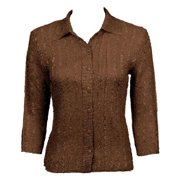 Wholesale Ultra Light Crush Silky Touch - Blouse* Solid Brown - One Size Fits (S-L)