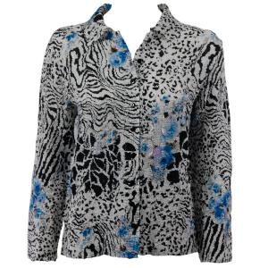 Wholesale Ultra Light Crush Silky Touch - Blouse*  Reptile Floral - Blue - One Size (S-L)