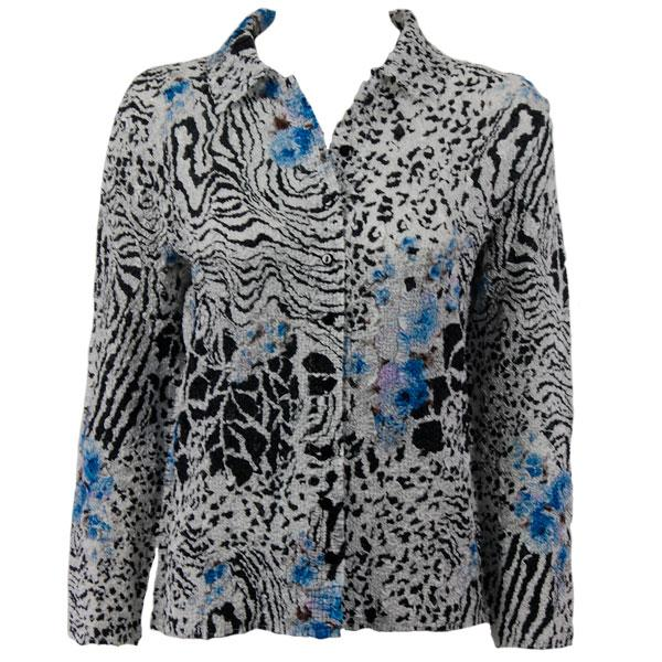 Wholesale Ultra Light Crush Silky Touch - Blouse*  Reptile Floral - Blue - One Size Fits (S-L)