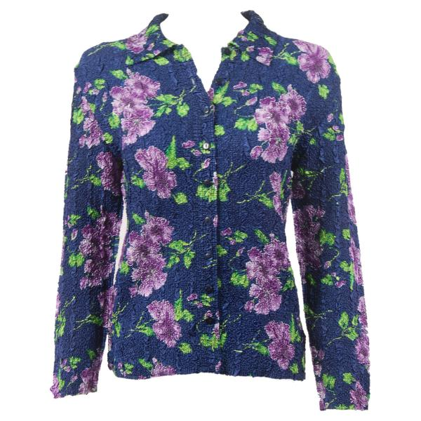 Wholesale Ultra Light Crush Silky Touch - Blouse*  Navy with Purple Flowers - Plus Size Fits (XL-2X)