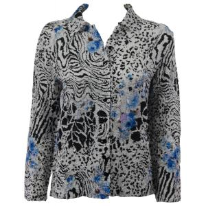 Wholesale Ultra Light Crush Silky Touch - Blouse*  Reptile Floral - Blue - Plus Size Fits (XL-2X)