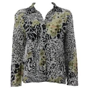 Wholesale Ultra Light Crush Silky Touch - Blouse*  Reptile Floral - Green - Plus Size Fits (XL-2X)