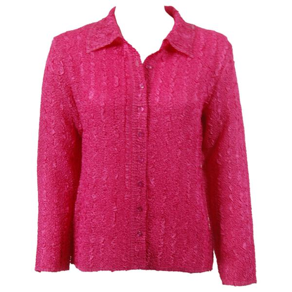 Wholesale Ultra Light Crush Silky Touch - Blouse* Solid Hot Pink - Plus Size Fits (XL-2X)