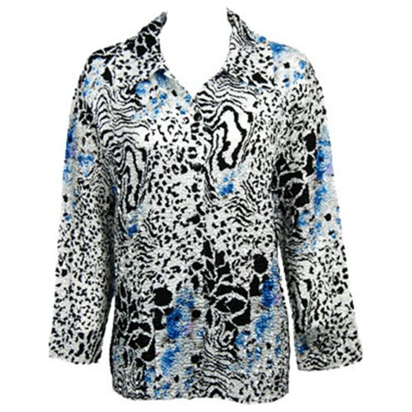 Wholesale Magic Crush Satin - Blouse* Reptile Floral - Blue - One Size (S-L)