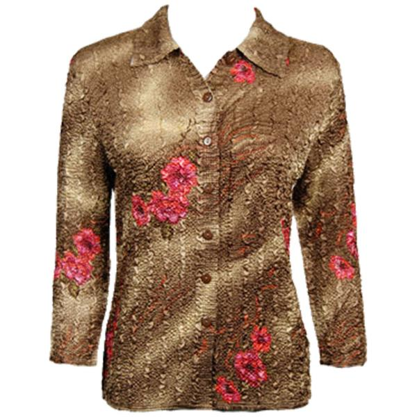 Wholesale Magic Crush Satin - Blouse* Marble Floral - Taupe - One Size (S-L)
