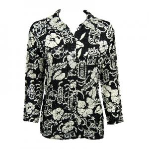 Wholesale   Ivory Floral on Black - Plus Size Fits (M-1X)