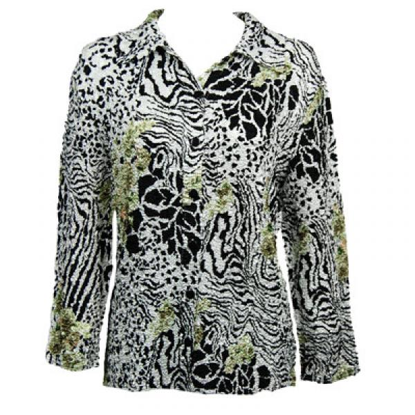 Wholesale Magic Crush Satin - Blouse*  Reptile Floral - Green - Plus Size Fits (M-1X)