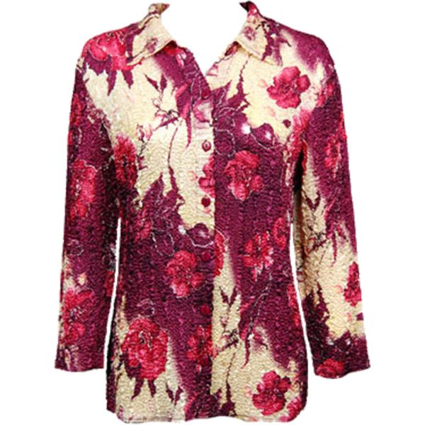 Wholesale Magic Crush Satin - Blouse* Rose Floral - Berry - Plus Size Fits (M-1X)