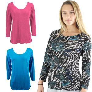 Wholesale Slinky Travel Tops<br>Three Quarter Sleeve<br>One Size (S-L)<br>Plus Size (XL-2X)
