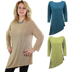 Wholesale Slinky Travel Tops<br>Asymmetric Tunic<br>One Size (S-L)<br>Plus Size (XL-2X)
