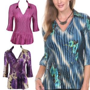 Wholesale Satin Mini Pleats<br>3/4 Sleeve with Collar<br>One Size (S-XL)